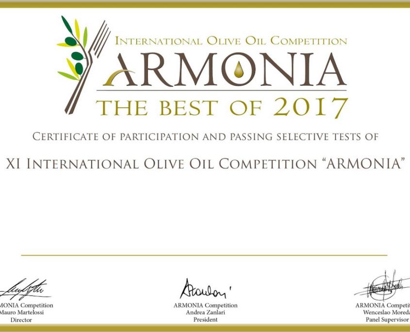 olio d'oliva premiato Armonia