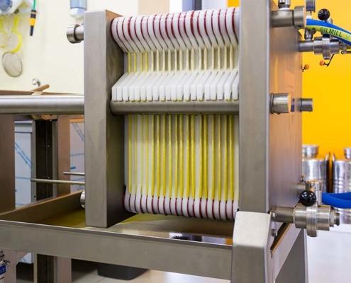 impianto di filtraggio per olio evo biologico