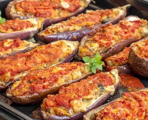 gefüllte auberginen mit olivenöl