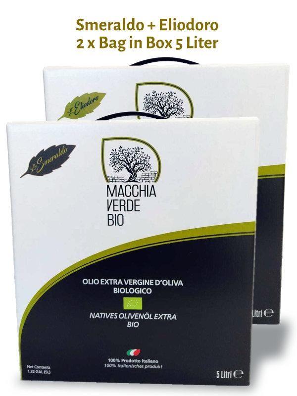 Bio Olivenöl 10 Liter Bag in Box Smeraldo und Eliodoro 5 Liter