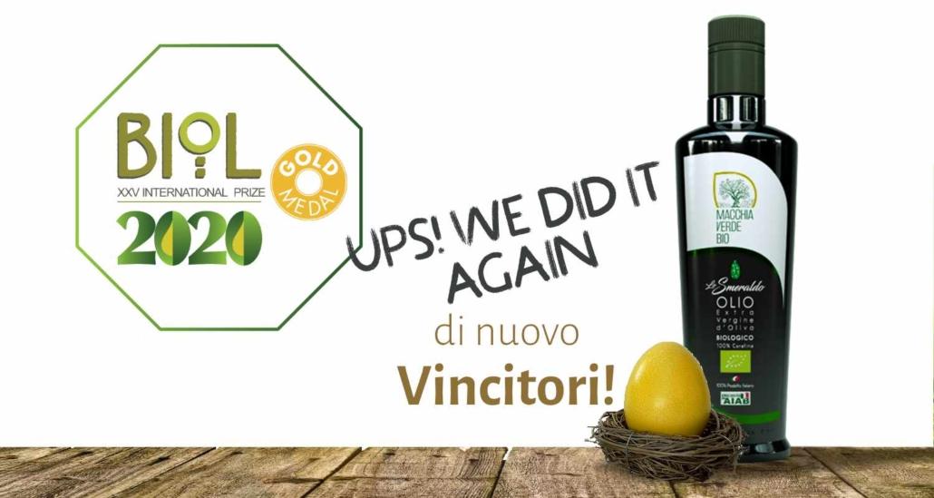 olio di oliva extravergine bio, vincitore del premio biol